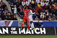 Harrison, NJ - Thursday March 01, 2018: Nicolas Del Grecco, Bradley Wright-Phillips. The New York Red Bulls defeated C.D. Olimpia 2-0 (3-1 on aggregate) during a 2018 CONCACAF Champions League Round of 16 match at Red Bull Arena.