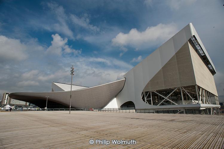 The Aquatics Centre, designed by architect Zaha Hadid, Olympic Park, London.