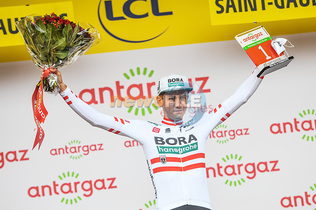 Austrian Champion Patrick Konrad (AUT) Bora-Hansgrohe wins Stage 16 and the day's combativity prize of the 2021 Tour de France, running 169km from Pas de la Case to Saint-Gaudens, France. 13th July 2021.  <br /> Picture: A.S.O./Charly Lopez | Cyclefile<br /> <br /> All photos usage must carry mandatory copyright credit (© Cyclefile | A.S.O./Charly Lopez)