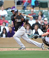 Hector Gomez #64 of the Colorado Rockies plays in a spring training game against the Arizona Diamondbacks at Salt River Fields on February 26, 2011  in Scottsdale, Arizona. .Photo by:  Bill Mitchell/Four Seam Images.