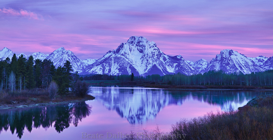 Dawn at Oxbow bend, Grand Tetons National Park, Wyoming