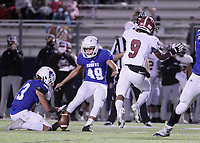 Springdale Bulldogs Sophomore Tajon Sparks (9) blocks a field goal attempt by Rogers Mountaineers Senior Yahir Munoz (49) Friday, October 16, 2020, at Whitey Smith Stadium, Rogers, Arkansas (Special to NWA Democrat-Gazette/Brent Soule)