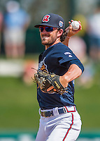14 March 2016: Atlanta Braves infielder Dansby Swanson, ranked the Number One Top Prospect in the Braves organization for 2016 by both MLB and Baseball America, in action during a Spring Training pre-season game against the Tampa Bay Rays at Champion Stadium in the ESPN Wide World of Sports Complex in Kissimmee, Florida. The Braves shut out the Rays 5-0 in Grapefruit League play. Mandatory Credit: Ed Wolfstein Photo *** RAW (NEF) Image File Available ***