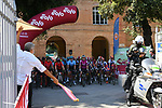 The start of the 2020 Strade Bianche Elite Women running 136km from Fortezza Medicea Siena to Piazza del Campo Siena, Italy. 1st August 2020.<br /> Picture: LaPresse/Gian Mattia D'Alberto | Cyclefile<br /> <br /> All photos usage must carry mandatory copyright credit (© Cyclefile | LaPresse/Gian Mattia D'Alberto)