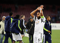 Thursday 27 February 2014<br /> Pictured: A disappointed Swansea captain Ashley WIlliams thanks away supporters at the end of the game<br /> Re: UEFA Europa League, SSC Napoli v Swansea City FC at Stadio San Paolo, Naples, Italy.