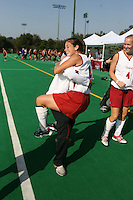 6 November 2007: Stanford Cardinal Hillary Braun (8) during Stanford's 1-0 win against the Lock Haven Lady Eagles in an NCAA play-in game to advance to the NCAA tournament at the Varsity Field Hockey Turf in Stanford, CA.