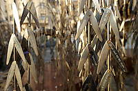 "Imre Varga's ""Memorial of the Hungarian Jewish Martyrs"" with leaves with the names of Jews murdered in the second world War."