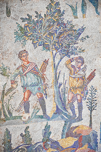 Hunters looking for birds in a tree from the Room of The Small Hunt, no 25 - Roman mosaics at the Villa Romana del Casale which containis the richest, largest and most complex collection of Roman mosaics in the world, circa the first quarter of the 4th century AD. Sicily, Italy. A UNESCO World Heritage Site.