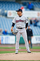Scranton/Wilkes-Barre RailRiders starting pitcher Justus Sheffield (4) looks in for the sign during a game against the Syracuse Chiefs on June 14, 2018 at NBT Bank Stadium in Syracuse, New York.  Scranton/Wilkes-Barre defeated Syracuse 9-5.  (Mike Janes/Four Seam Images)