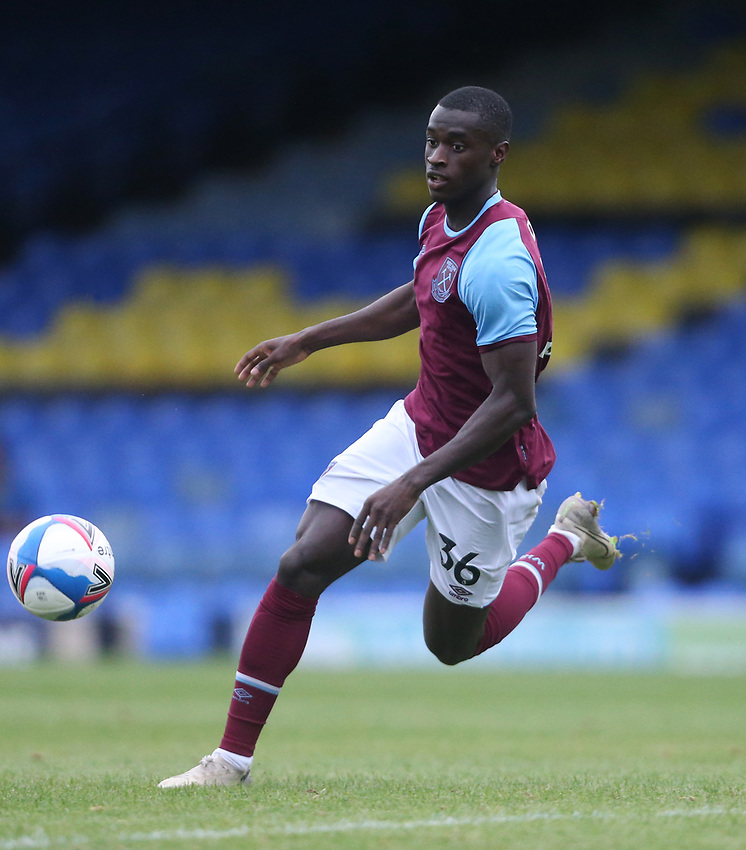West Ham United's Mesaque Dju<br /> <br /> Photographer Rob Newell/CameraSport<br /> <br /> EFL Trophy Southern Section Group A - Southend United v West Ham United U21 - Tuesday 8th September 2020 - Roots Hall - Southend-on-Sea<br />  <br /> World Copyright © 2020 CameraSport. All rights reserved. 43 Linden Ave. Countesthorpe. Leicester. England. LE8 5PG - Tel: +44 (0) 116 277 4147 - admin@camerasport.com - www.camerasport.com