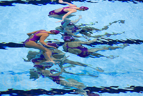 26 JUL 2012 - LONDON, GBR - The Chinese (CHN) Synchronised Swimming team practice at the Aquatics Centre in the Olympic Park, Stratford, London, Great Britain ahead of the start of the London 2012 Olympic Games (PHOTO (C) 2012 NIGEL FARROW)
