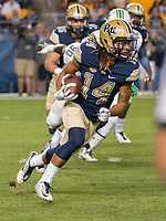 Avonte Maddox returns a kickoff for Pitt. The Pitt Panthers defeated the Marshall Thundering Herd 43-27 on October 1, 2016 at Heinz Field in Pittsburgh, Pennsylvania.