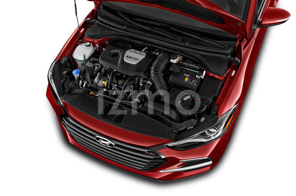 Car Stock 2017 Hyundai Elantra Sport 4 Door Sedan Engine  high angle detail view
