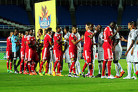 CALI -COLOMBIA-04-04-2016. Jugadores de Atlético FC y América Cali durante los actos protocolarios previo al partido de la fecha 8 del Torneo Águila 2016 jugado en el estadio Pascual Guerrero de la ciudad de Cali. / Players of Atletico FC and America de Cali during the formal events prior the match for the date 8 match of the Aguila Tournament 2016 played at Pascual Guerrero stadium in Cali. Photo: VizzorImage/ NR /