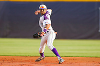 High Point Panthers shortstop Willie Medina #3 makes a throw to first base against the VMI Keydets at Willard Stadium on March 30, 2012 in High Point, North Carolina.  The Panthers defeated the Keydets 11-3.  (Brian Westerholt/Four Seam Images)