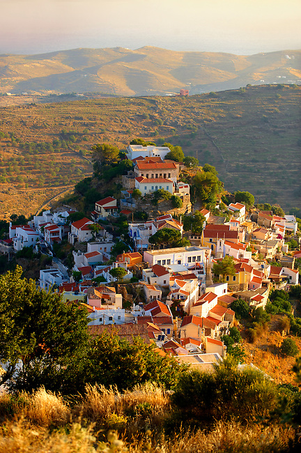 view of Ioulis (Chora) administrative centre  town of Kea, Greek Cyclades Islands.