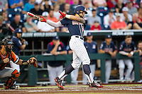 Arizona Wildcats designated hitter J.J. Matijevic (24) follows through on his swing against the Oklahoma State Cowboys in Game 6 of the NCAA College World Series on June 20, 2016 at TD Ameritrade Park in Omaha, Nebraska. Oklahoma State defeated Arizona 1-0. (Andrew Woolley/Four Seam Images)