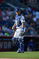 Durham Bulls catcher Luke Maile (26) on defense against the Louisville Bats at Durham Bulls Athletic Park on August 9, 2015 in Durham, North Carolina.  The Bulls defeated the Bats 9-0.  (Brian Westerholt/Four Seam Images)