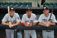 Tri-City ValleyCats Bobby Wernes (14), Alexander Melendez (4) and Pat Porter (24) in the dugout before a game against the Aberdeen Ironbirds on August 6, 2015 at Ripken Stadium in Aberdeen, Maryland.  Tri-City defeated Aberdeen 5-0 in a combined no-hitter.  (Mike Janes/Four Seam Images)