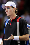 Czech Republic's Thomas Berdych reacts after his Madrid Masters Series tennis tournament semi final match against Chile's Fernando Gonzalez at Madrid Arena, Saturday 21 October, 2006. (ALTERPHOTOS/Alvaro Hernandez).