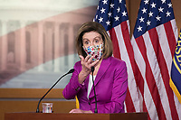 Speaker of the United States House of Representatives Nancy Pelosi (Democrat of California) offers remarks and fields questions from reporters during a press conference at the U.S. Capitol in Washington, DC, Thursday, January 7, 2021.<br /> CAP/MPI/RS<br /> ©RS/MPI/Capital Pictures