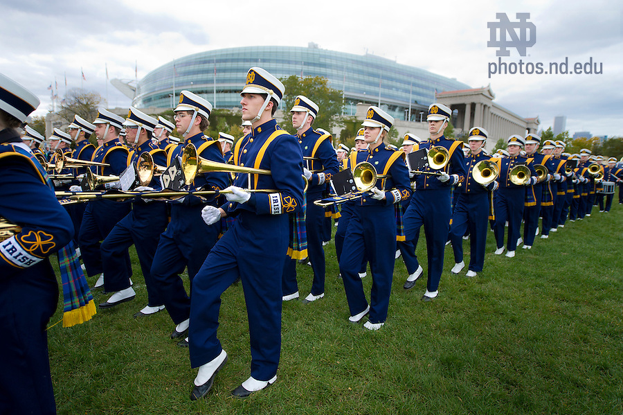 Oct. 6, 2012; University of Notre Dame Marching Band step off outside Soldier Field prior to the Shamrock Series game in Chicago. Photo by Barbara Johnston/University of Notre Dame..