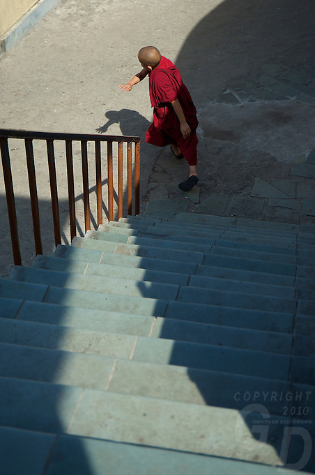 Novice Buddhist Tibetan Monks  at the Kopan Monastery Kathmandu