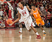 NWA Democrat-Gazette/ANTHONY REYES • @NWATONYR<br /> Michael Qualls, Arkansas junior, drives up the court against Tennessee in the second half Tuesday, Jan. 27, 2015 at Bud Walton Arena in Fayetteville. The Razorbacks won 69-64.