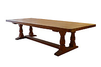 BNPS.co.uk (01202 558833)<br /> Pic: Tennants/BNPS<br /> <br /> Pictured: An English oak 10ft refectory table with a carving of a mouse on the leg.<br /> <br /> Celebrity chef Marco Pierre White is selling his £90,000 collection of highly sought-after 'Mouseman' furniture that has graced his country hotel.<br /> <br /> The items were created by Robert 'Mousey' Thompson who earned his nickname by carving a small mouse somewhere into each piece of oak furniture he made.<br /> <br /> Marco Pierre White began collecting Mouseman furniture many years ago and installed it in his Rudloe Arms hotel in Wiltshire.<br /> <br /> The Michelin starred-chef has acquired so much of it that some of the items are now surplus to requirement.