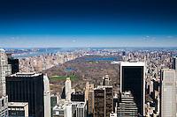 Manhattan skyline with Central Park, Hudson and Washington Bridge