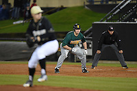 Siena Saints designated hitter Joe Drpich (47) leads off first during the opening game of the season against the UCF Knights on February 13, 2015 at Jay Bergman Field in Orlando, Florida.  UCF defeated Siena 4-1.  (Mike Janes/Four Seam Images)
