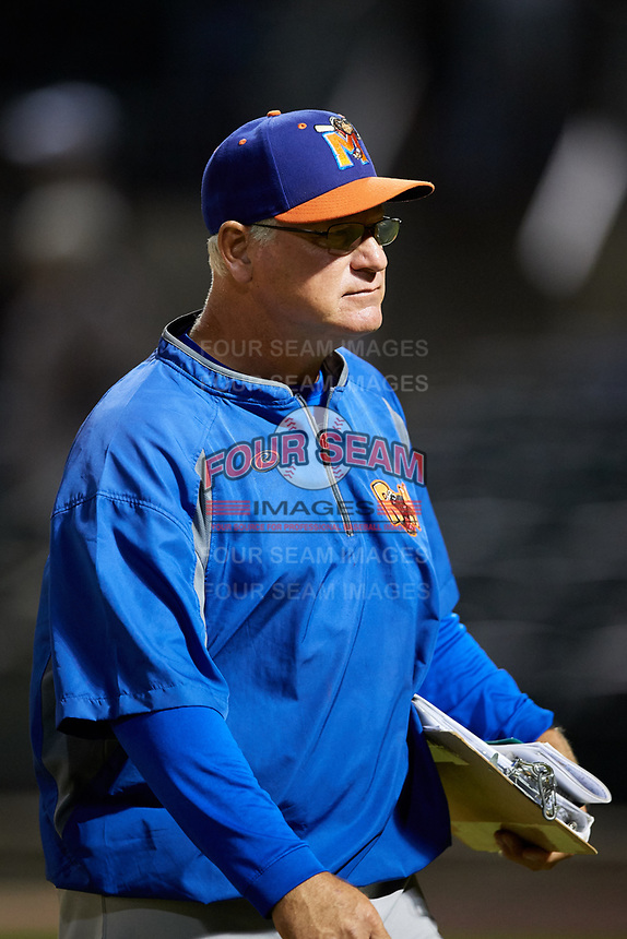 Midland RockHounds pitching coach Don Schulze (50) during a game against the Arkansas Travelers on May 25, 2017 at Dickey-Stephens Park in Little Rock, Arkansas.  Midland defeated Arkansas 8-1.  (Mike Janes/Four Seam Images)