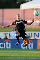 Whitney Engen (23) of the Western New York Flash plays the ball. The Western New York Flash defeated Sky Blue FC 4-1 during a Women's Professional Soccer (WPS) match at Yurcak Field in Piscataway, NJ, on July 30, 2011.