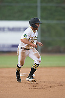 Bristol Pirates Aaron Shackelford (13) takes a lead off second base during the game with the Burlington Royals at Boyce Cox Field on June 19, 2019 in Bristol, Virginia. The Royals defeated the Pirates 1-0. (Tracy Proffitt/Four Seam Images)