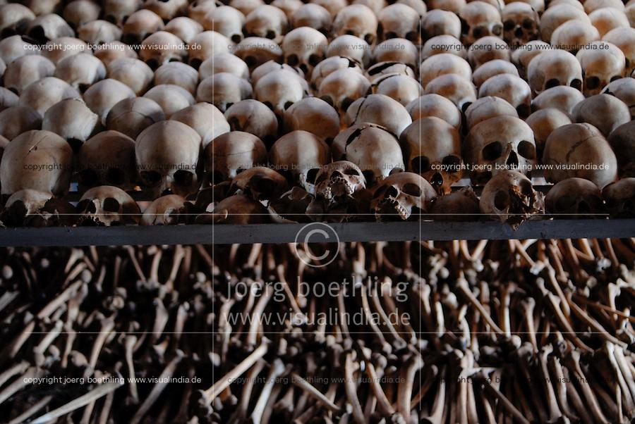RWANDA Genocide memorial Ntarama , during the genocide in april 1994 about 5000 Tutsi were killed in this church by Hutu murder / RUANDA Ntarama , Mahnmal fuer die Opfer des Genozid, waehrend des Voelkermord wurden in der Kirche von Ntarama 5000 Zuflucht suchende Tutsi Maenner Frauen und Kinder im April 1994 von Hutu Milizen erschlagen