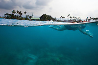 Woman swimming in Kailua-Kona bay, Big island. Photo taken above and below water