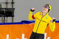 26th December 2020; Thialf Ice Stadium, Heerenveen, Netherlands;  World Championships Qualification Tournament WKKT. 1500m ladies, winner Antoinette de Jong during the WKKT