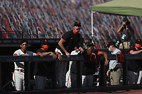 SAN FRANCISCO, CA - SEPTEMBER 27:  Drew Smyly #18 of the San Francisco Giants yells from the dugout after teammate Austin Slater took a controversial called third strike in the bottom of the 9th inning of their game against the San Diego Padres to end the game and the season at Oracle Park on Sunday, September 27, 2020 in San Francisco, California. (Photo by Brad Mangin)