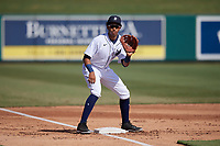 Detroit Tigers third baseman Cesar Calderon (35) during practice before a Florida Instructional League intrasquad game on October 24, 2020 at Joker Marchant Stadium in Lakeland, Florida.  (Mike Janes/Four Seam Images)