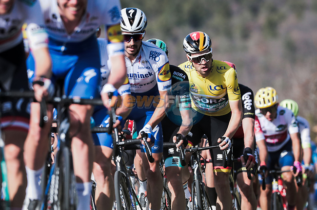 The peloton including Julian Alaphilippe (FRA) Deceunick-Quick Step and race leader Maximilian Schachmann (GER) Bora-Hansgrohe during Stage 6 of the 78th edition of Paris-Nice 2020, running 161.5km from Sorgues to Apt, France. 13th March 2020.<br /> Picture: ASO/Fabien Boukla | Cyclefile<br /> All photos usage must carry mandatory copyright credit (© Cyclefile | ASO/Fabien Boukla)