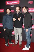 ROMAIN LEVY, MANU PAYET, MATHIEU OULLION, AVANT-PREMIERE DU FILM 'GANGSTERDAM' AU GRAND REX A PARIS, FRANCE, LE 23/03/2017.