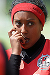 GER - Hannover, Germany, May 30: During the Women Lacrosse Playoffs 2015 match between DHC Hannover (black) and SC Frankfurt 1880 (red) on May 30, 2015 at Deutscher Hockey-Club Hannover e.V. in Hannover, Germany. Final score 23:3. (Photo by Dirk Markgraf / www.265-images.com) *** Local caption *** Segen Debesai #19 of SC 1880 Frankfurt