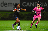 Esther Buabadi (24) of Zulte-Waregem pictured with Ylenia Carabott (7) of Sporting Charleroi during a female soccer game between Sporting Charleroi and SV Zulte-Waregem on the 12 th matchday of the 2020 - 2021 season of Belgian Scooore Womens Super League , friday 29 th of January 2021  in Marcinelle , Belgium . PHOTO SPORTPIX.BE | SPP | DAVID CATRY