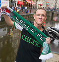 Celtic fans Jason McGuire, 28, from Edinburgh arrives in Amsterdam.