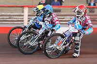 Heat 2: Richard Lawson (red), Robert Mear (blue) and Richie Worrall - Vortex Lakeside Hammers vs Kings Lynn Stars - Sky Sports Elite League Speedway at Arena Essex Raceway, Purfleet - 23/04/13 - MANDATORY CREDIT: Gavin Ellis/TGSPHOTO - Self billing applies where appropriate - 0845 094 6026 - contact@tgsphoto.co.uk - NO UNPAID USE.