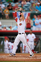 Florida Fire Frogs catcher Brett Cumberland (28) points to the sky as he crosses home plate after hitting a home run in the bottom of the third inning during a game against the Daytona Tortugas on April 7, 2018 at Osceola County Stadium in Kissimmee, Florida.  Daytona defeated Florida 4-3.  (Mike Janes/Four Seam Images)