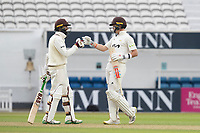 Hashim Amla congratulates Ollie Pope on his century during Surrey CCC vs Hampshire CCC, LV Insurance County Championship Group 2 Cricket at the Kia Oval on 30th April 2021