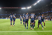 28th September 2021, Parc des Princes, Paris, France: Champions league football, Paris-Saint-Germain versus Manchester City:   PSG players celebrate the first goal from Idrissa Gueye ( 27 - PSG )