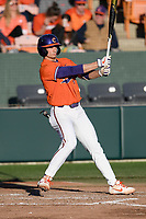 Shortstop Sam Hall (5) of the Clemson Tigers bats in a game against the Stony Brook Seawolves on Friday, February 21, 2020, at Doug Kingsmore Stadium in Clemson, South Carolina. Clemson won, 2-0. (Tom Priddy/Four Seam Images)