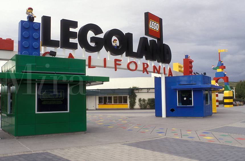 Legoland, LEGOS, Carlsbad, California, CA, Ticket Booths made of large colorful Legos at the Entrance to Legoland California in Carlsbad.